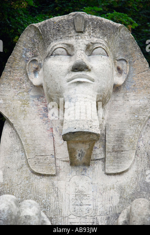 Close up of stone sphinx statue at the entrance to the former Crystal Palace London England - Stock Photo