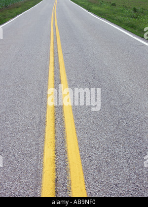 Yellow Lines in Middle of Road - Stock Photo