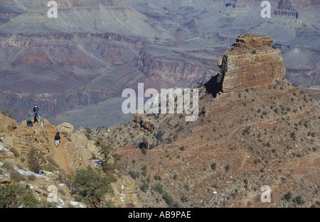 Hikers on switchback trail Cedar ridge Grand Canyon - Stock Photo