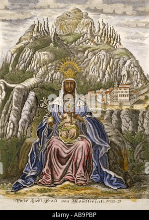 fine arts, religious art, Virgin Mary, Madonna with child, 'Our deal Lady of Montserrat', coloured engraving, Spain, 18th century, , Artist's Copyright has not to be cleared