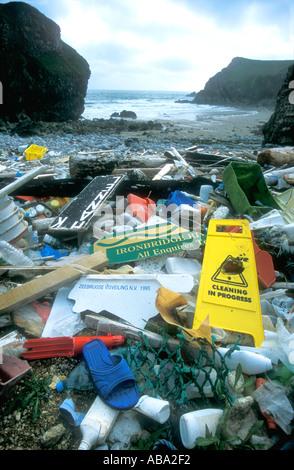 Flotsam and jetsam on beach Pembrokeshire National Park Wales UK United Kingdom GB Great Britain Europe - Stock Photo