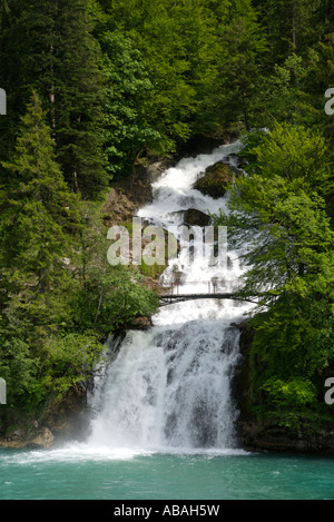 The waterfall falling into Lake Brienz at Giessbach - Stock Photo