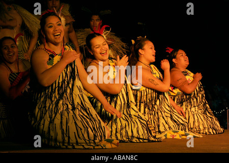 Maori women during traditional cultural performance - Stock Photo