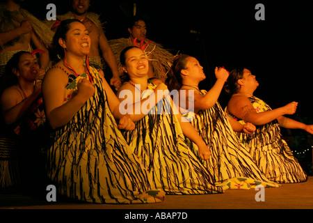 Maori woman during cultural performance - Stock Photo
