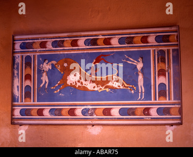 Greece Crete Palace of Knossos Copy of Bull Leaping Fresco - Stock Photo