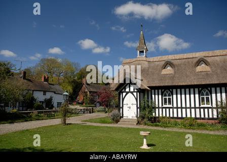 All Saints church Little Stretton Shropshire England UK in spring with blossom - Stock Photo