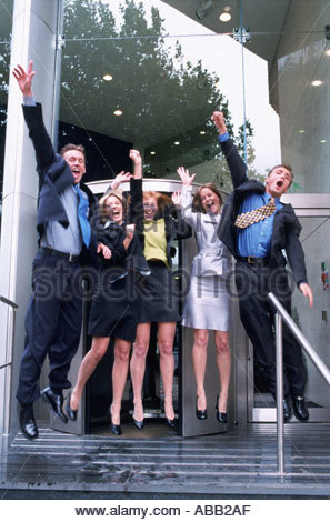 Business team rejoicing - Stock Photo