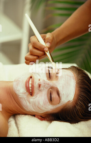 Woman wearing face mask - Stock Photo