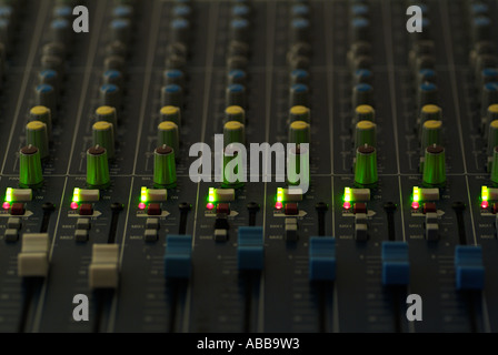Close Up of the Controls of an Electronic Mixing Desk - Stock Photo