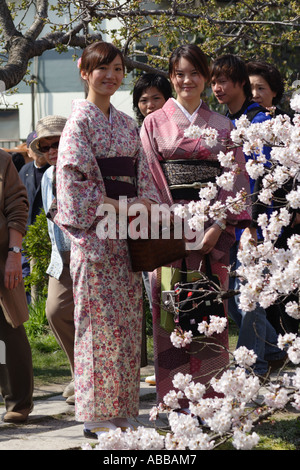 Two Traditionally Dressed Young Women Looking at Cherry Blossoms on Philosopher's Walk located in Kyoto, Japan - Stock Photo