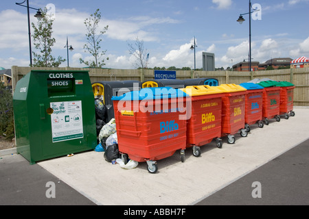 Colourful recycling bins at superstore carpark Davids Wharf Barry Glamorgan Wales - Stock Photo