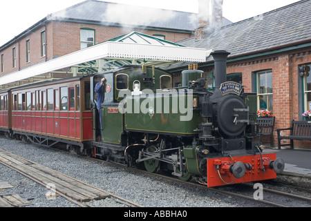 The Quarryman train at Tywyn Station on Talyllyn Narrow gauge railway North Wales UK - Stock Photo