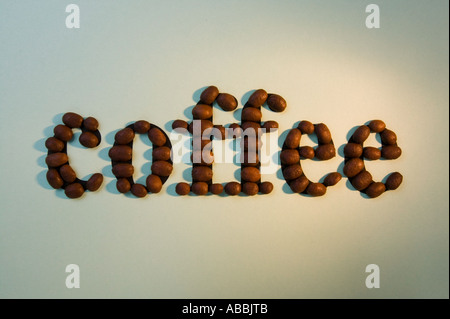 coffee beans spelling out the word coffee - Stock Photo