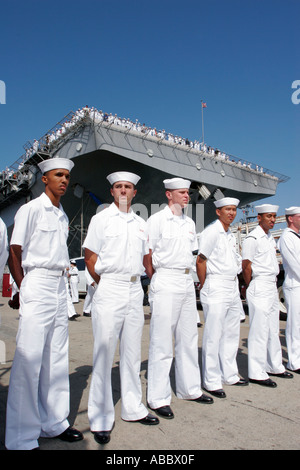Sailors and Marines Reunite With Their Families San Diego Naval Base California SD  - Stock Photo