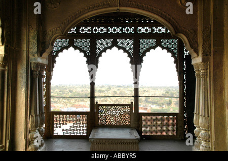 Open and richly ornamented hall city palace Karauli Rajasthan India - Stock Photo