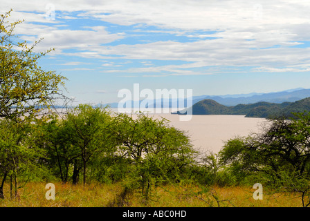View over trees of the savannah on Abaya Lake Nechisar National Park near Arba Minch Ethiopia - Stock Photo