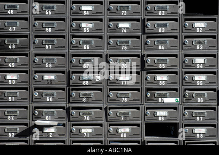 Many letterboxes mailboxes with numbers, settlement, Altea, Costa Blanca, Spain - Stock Photo