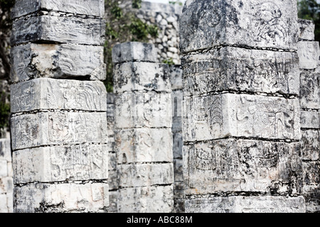 temple of the jaguar warrior of Chichen Itza in the yucatan was a Maya city and one of the greatest religious center - Stock Photo