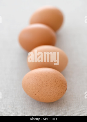Eggs on pale linen - high end Hasselblad 61mb digital image - Stock Photo