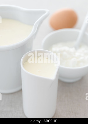 Milk cream cottage cheese and an egg on pale linen - high end Hasselblad 61mb digital image - Stock Photo