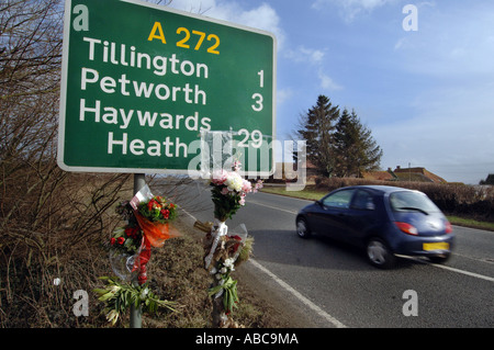 A roadside shrine on the A272 in Sussex, England, UK, Great Britain. - Stock Photo