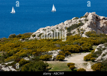 France marseille two sailboats on the mediterranean sea - Stock Photo