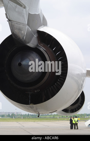 Airbus A380 Airbus is powered by Rolls Royce Trent 900 jet engines - Stock Photo