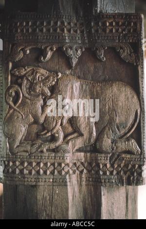 Lion and elephant, bas-relief carving. Embekke Devale, Kandy - Sri Lanka - Stock Photo