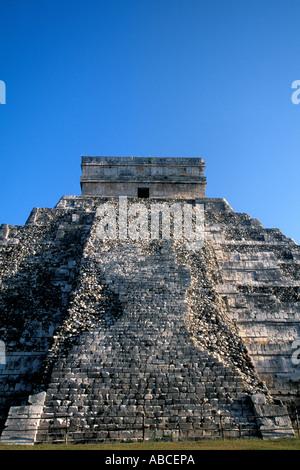 Mexico Yucatan Chichen Itza Pyramid of Kukulkan - Stock Photo