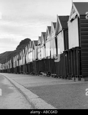 Beach huts on Bournemouth Beach Dorset South Coast UK - Stock Photo