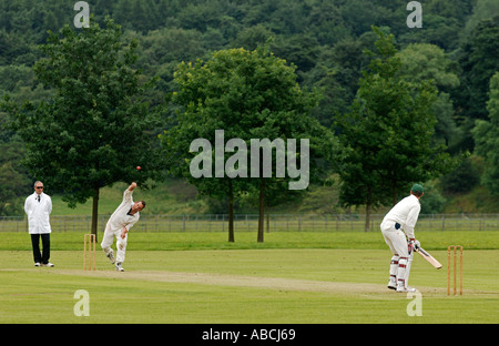 Cricket match taking place at Bolton Abbey Wharfedale Yorkshire - Stock Photo
