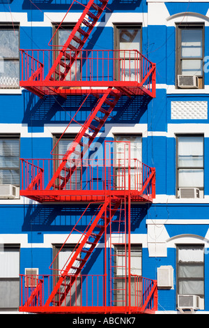 Apartment Building With Fire Escapes   Stock Photo