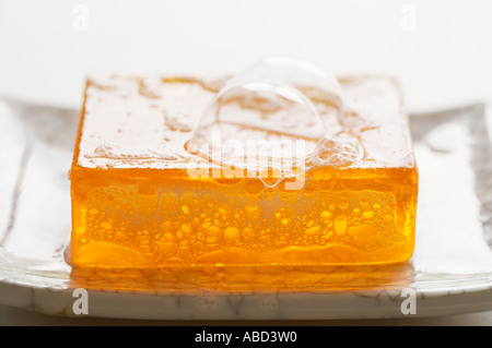 Bubbles on a bar of soap - Stock Photo