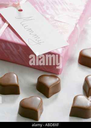 Heart shaped chocolates for mothers day - Stock Photo
