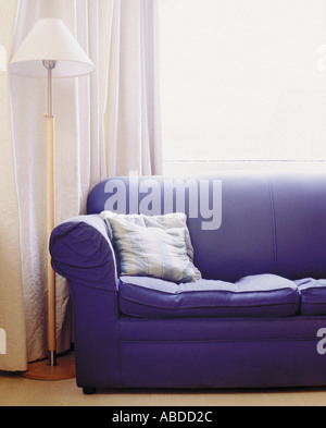 A dark blue sofa. - Stock Photo