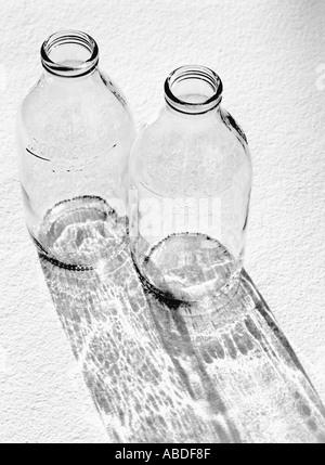 Empty milk bottles - Stock Photo