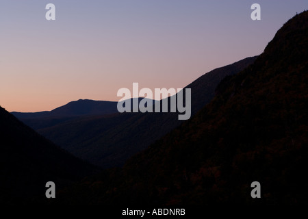 Dawn over Crawford Notch as seen from the Elephant Head lookout Crawford Notch State Park White Mountains NH - Stock Photo