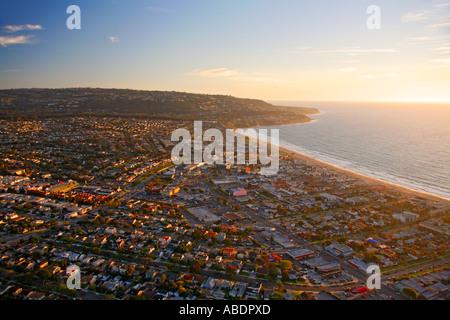Aerial view of Palos Verdes Estates near Los Angeles California - Stock Photo