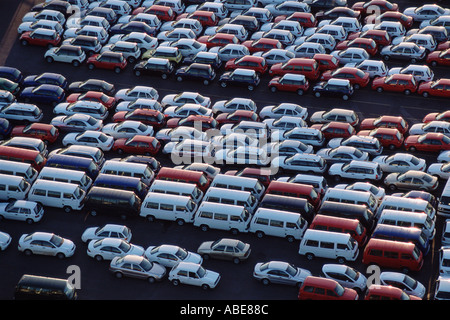 Cars parked at a motor factory - Stock Photo