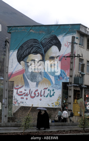 Ayatollah Khamenei (left) and Khomeini mural in street, Tehran Iran ©Mark Shenley - Stock Photo
