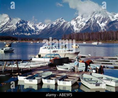 Colter Bay Marina on Jackson Lake in Grand Teton National Park in Wyoming - Stock Photo
