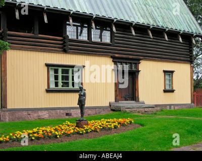 house with studio of the artist painter Anders Zorn in Mora at lake Siljan in Dalarna - Stock Photo