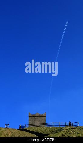 Blue Sky at Rivington Pike Horwich near Bolton Lancashire England UK - Stock Photo
