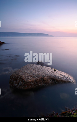Dawn over Swanage Bay, Dorset, UK - Stock Photo