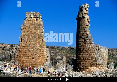 turkey anatolia mediterranean coast the ruins of perge - Stock Photo