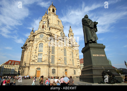 Germany, Dresden, Martin Luther statue in front of the Church of Our Lady, Frauenkirche, UNESCO world heritage monument - Stock Photo