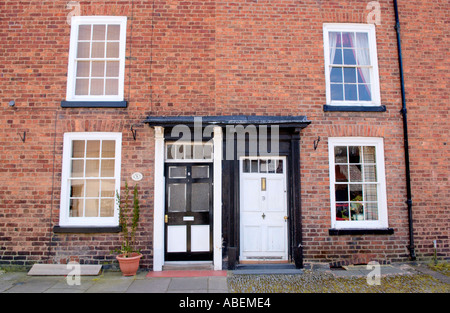 Victorian terraced house at Llanidloes Powys Mid Wales UK - Stock Photo