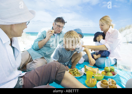 Family having picnic on beach - Stock Photo