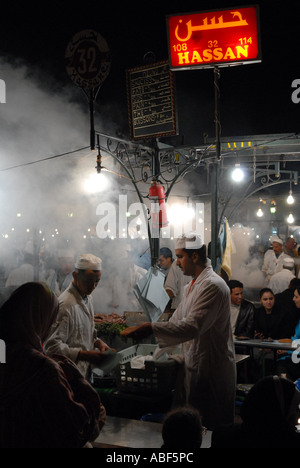 Night market in the Djeema-el-Fna main square, Marrakech. - Stock Photo