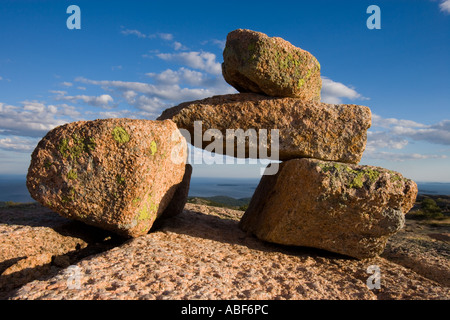 A rock cairn on Cadillac Mountain in Maine s Acadia National Park South Ridge Trail - Stock Photo